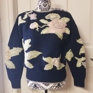 RARE Liz Claiborne KNITTED BY HAND Sweater S GUC